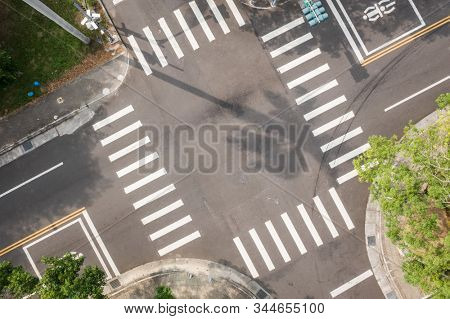 aerial view of street intersection at a city