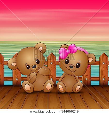 Cute Couple A Teddy Bear Sitting On Seaport