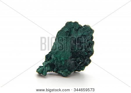 Malachite, Green Mineral Stone Isolated On A White Background.
