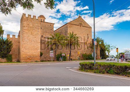 Mallorca, Spain - May 10,2019: Saint Jaume Church, Alcudia, Majorca, Balearic Islands, Spain