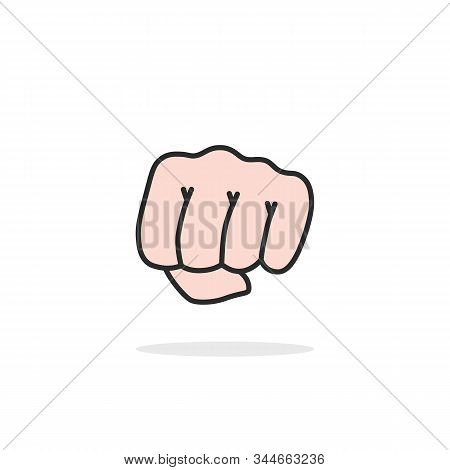 Linear Woman Fist Isolated On White. Concept Of Arm Hit Or Impact Like Revolt Or Aggressive Attack A