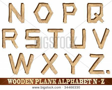 Wooden Plank Alphabet N To Z