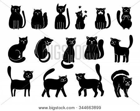 Cats Silhouettes On White. Elegant Cat Icons, Funny Cartoon Curiosity Black Animal Collection Vector