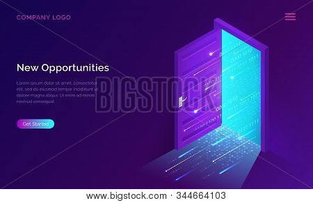 New Opportunities Isometric Landing Page. Binary Digital Code Coming Through Open Door On Neon Glowi
