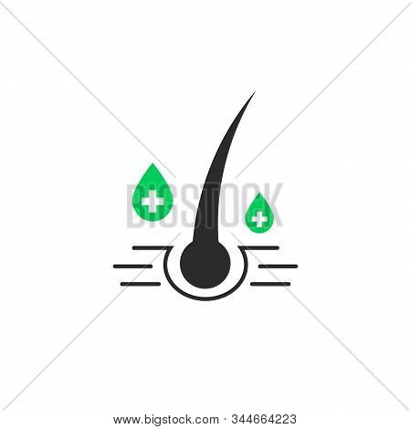 Shampoo With Keratin Like Hair Follicle Care. Flat Style Trend Modern Simple Logotype Graphic Design