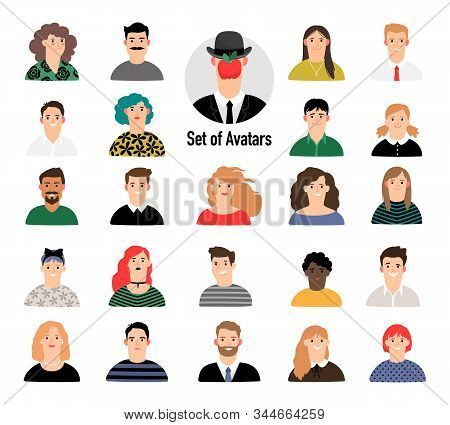 Cartoon Avatar Set With Men And Women. Business Corporate People Portraits On White Background, Fema