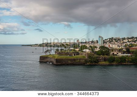 Fort-de-france, Martinique - December 13, 2018: Rain Over The City Fort-de-france. Fort Saint Louis