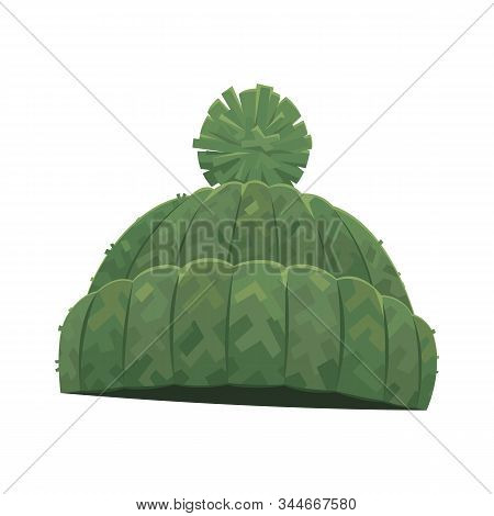 Green Knitted Winter Warm Hat With Pompom On White Background