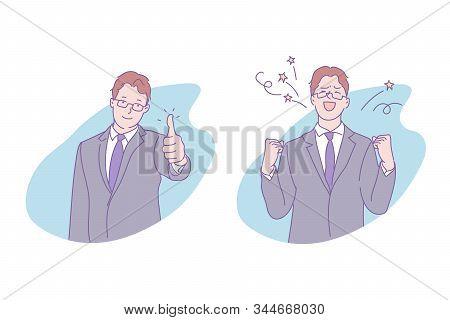Business Success, Goal Achievement Concept. Businessman Showing Thumb Up, Successful Deal, Progress,