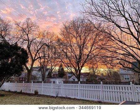 Beautiful Orange Sunset In Winter In Illinois