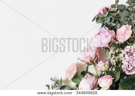 Feminine Styled Stock Photo With Pink Roses, Hydrangea, Peony, Flowers And Eucalyptus Leaves And Bra