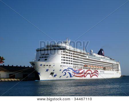 Cruise Ship Docked In Honolulu Harbor