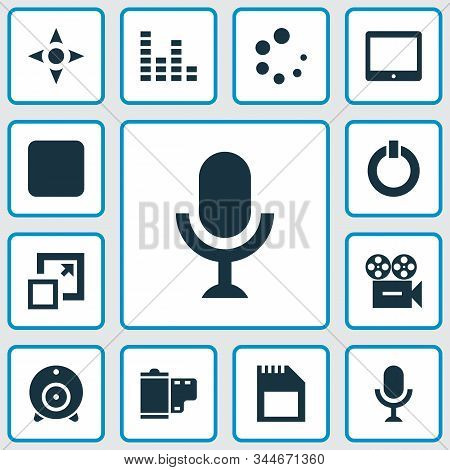 Multimedia Icons Set With Sd Card, Audio Mixer, Tablet And Other Karaoke Elements. Isolated Vector I