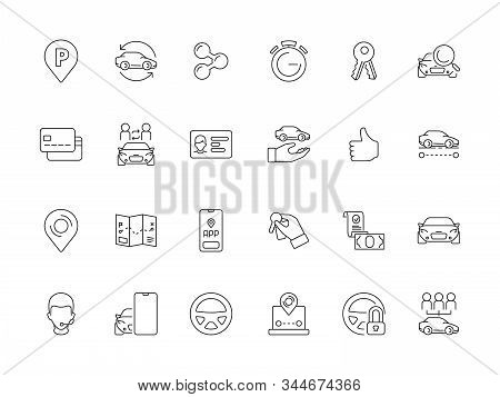 Car Rent Icon. Urban Service Sharing Automobile Ride Transport Mobility Vector Symbols Set. Illustra
