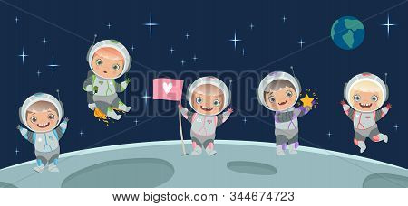 Kids Astronaut On Moon. Space Background Illustration. Cartoon Character Children In Spacesuit, Spac