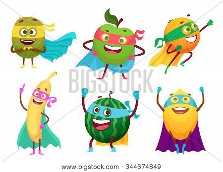 Superheroes Fruits. Vegetables Healthy Food Mascot Heroes Costumes Orange Garden Apple Berry Vector