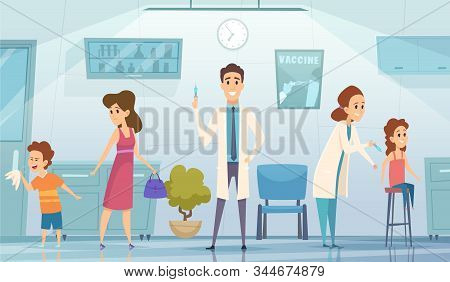 Kids Vaccination. Doctor In Clinic Medication Childrens Cartoon Vector Background Healthcare Concept