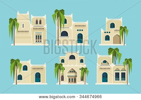 Ancient Arabic Houses. Old Traditional Muslim Brick Buildings Desert Architectural Objects Mosque Ve