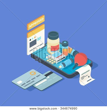 Medical App. Smartphone Screen With Online Order Medical Pills Drugs Med Clinic Connection Online Ve