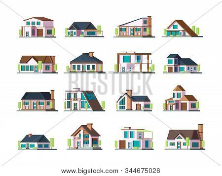 Residential House. Village Building Exterior Modern Townhouses Vector Collection Set. Illustration B