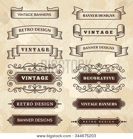 Vintage Banners. Wedding Flourish Ornament Grunge Ribbons Chalkboard Textures Vector Retro Style Bad