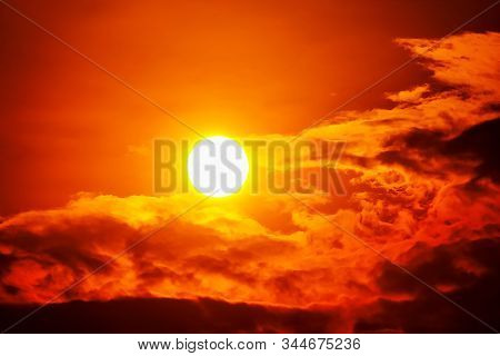 Sunset Sky Orange Sky Red Cloud Outdoor Summer Nature Backgound