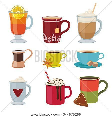 Hot Drinks. Warm Mugs Tea Coffee Cocoa Mulled Wine Vector Collection Cartoon Pictures. Illustration