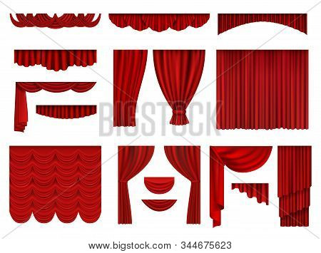 Red Curtains. Textile Theatrical Opera Scenes Decoration Curtains Vector Realistic Collection Set. F