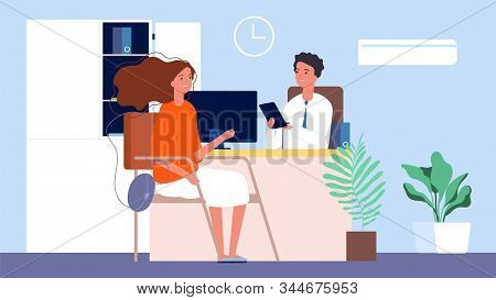 Job Interview. Female Seekers, Hr Manager And Woman. Office Conversation, Business Recruitment Or Te