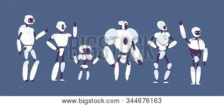 Robots Cartoon. Various Androids Models Vector Futuristic Characters Isolated. Robot Character Model