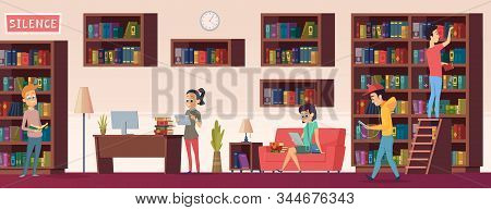 School Library. People With Books Students Sitting And Reading In Biblioteca Interior With Bookshelv