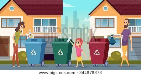 Garbage Recycling. Waste Separation People Protect Nature Container For Garbage Vector Cartoon Backg