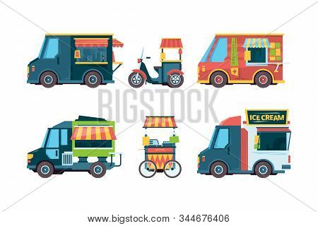 Food Truck. Pushcart Picking Transport Hawkers Festival Fast Food Vector Collection Flat Pictures. F