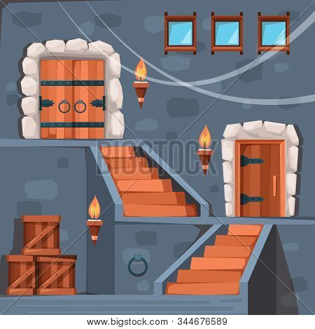 Castle Basement. Ancient Prison Entrance Dark Crypt Interior With Doors And Staircase Stone Vector F