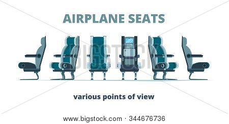 Airplane Seat. Aircraft Interior Armchairs In Different Side View Vector Flat Pictures. Illustration