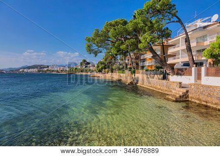 View at promenade along seafront. Port de Pollenca is a small town in northern Mallorca, Balearic islands, Spain