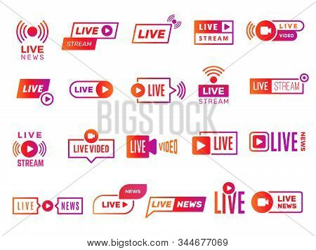 Live Stream Badges. Video Broadcasting Shows Digital Online Text Templates Live News Vector Stickers