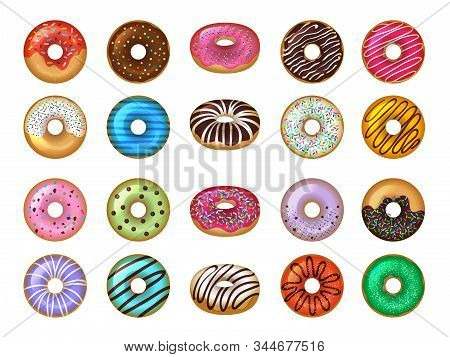 Donuts Desserts. Round Fast Food Products Tasty Chocolate Rings Cakes Colored Vector Set. Donut Snac