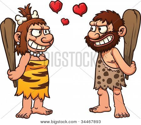 Prehistoric cartoon couple,caveman and cavewoman. Vector illustration with simple gradients. All element in separate layers for easy editing.