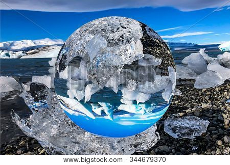 Reflection Of The Glacier Lagoon In Iceland