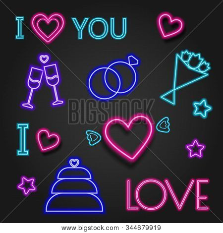 Valentine's neon, valentine's day, Valentine's Day background, Valentine's day banners, Valentine's Day flyer, Valentines Day design, Valentines Day with Heart and balloon on black background, Copy space text area, vector illustration.