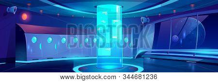 Futuristic School Hallway Interior At Night. Vector Cartoon Background Of Empty Corridor With Locker