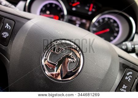 Portree, Scotland - August 7, 2019: The Detail Of A Streering Wheel In Vauxhall (opel) Astra With Sp