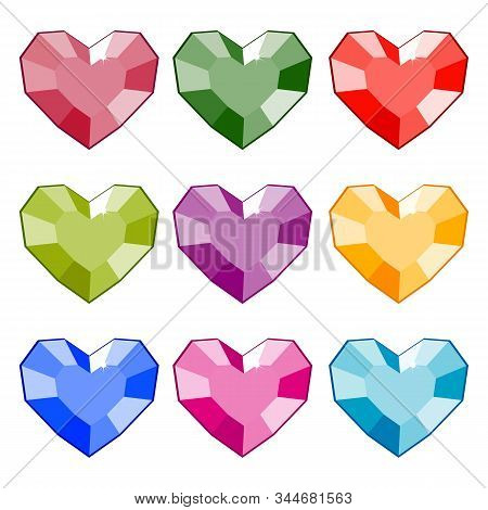 Gemstones In The Shape Of A Heart. Isolated Vector Image. Eps 10