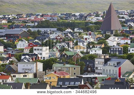Torshavn City Town In Streymoy Feroe Islands. Colorful Picturesque Houses