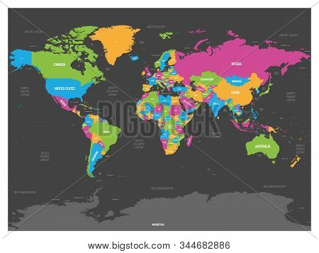 World Map. High Detailed Political Map Of World With Country, Capital, Ocean And Sea Names Labeling.