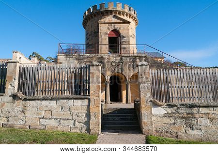 Port Arthur, Australia - July 19, 2014: Guard Tower Building Landmark At Port Arthur Historic Herita