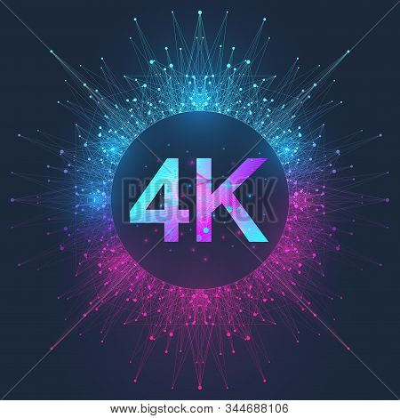 4k Ultra Hd Badge Vector Icon. Abstract Gradient Background Style 4k Uhd Tv Symbol