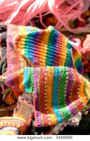 Knitted Wares At A Country Market