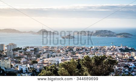 Scenic View Of Iles Du Frioul Or Frioul Islands Archipelago And Chateau D'if Castle In Marseille Fra